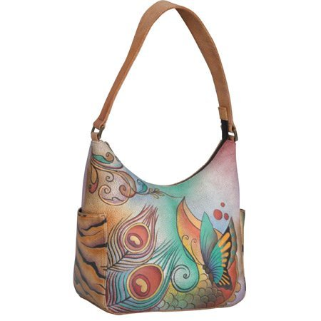 Anuschka Women's Genuine Leather Handbag | Classic Hobo With Side Pocket multicoloured Size: One size
