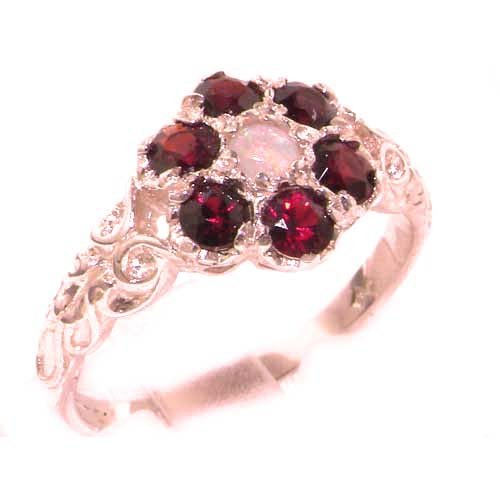 Victorian Ladies Solid 9ct Rose Gold Natural Fiery Opal & Garnet Daisy Ring - Size Y 1/2