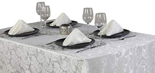 4YH Textiles Cadiz Glacier Damask Effect 12 Place Setting Mega Package Tableware Set - Includes A 70in x 108in (132cm x 234cm) Oblong Tablecloth, Napkins,Table Runner And Placemats Sizes Approximate