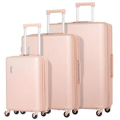 """377a6f2681e9 5 Cities Lightweight ABS Hard Shell 3 Piece Luggage Suitcase Set with 4  Wheels, 21"""" Cabin + 25"""" Medium + 29"""" Large (Rose Gold)"""