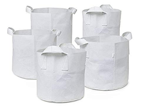 5-pack 1 Gallon Garden Plant Grow Bags/aeration Box Stand Best Fabric Pots W/handles (black) Vintage Vertical Deep Seedling Weed Vegetable Growing Tent Bag Accessories Pack Indoor Outdoor Black