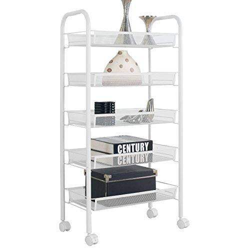 5-Tier Trolley Rack Multifunctional Utility Storage Organiser Stand Rack Serving Rolling Cart Shelving With Wheels 46104-5(White)