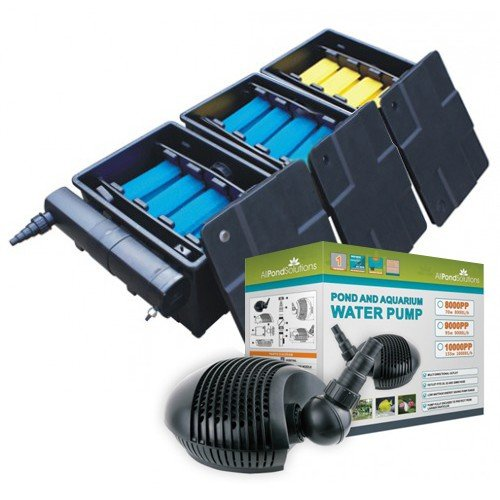 Complete Garden Pond Koi Fish Triple Bay Filter System with CBF-350C Koi Filter Box, 10000 Litres per Hour Pond Pump and 36w UV Steriliser Clarifier