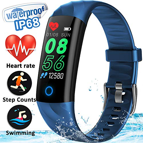 GBD IP67 Waterproof Fitness Tracker Smart Watch with Heart Rate Blood Pressure Monitor for Men Fathers Women Calorie Counter Pedometer Wearable Wrist Watch Sport Smartwatch for iOS/Android (Blue)