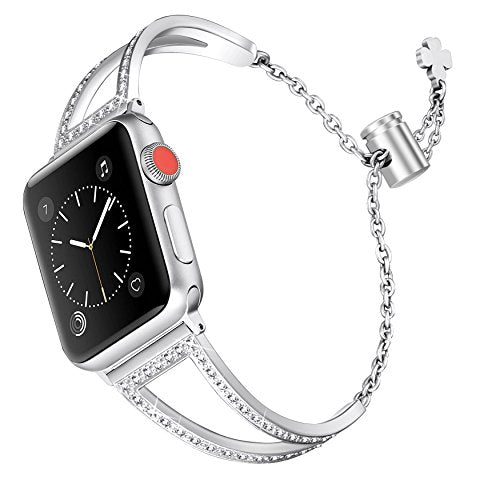 Secbolt Bling Bands for Apple Watch Band 38mm Women, Stainless Steel Metal Jewelry Bracelet Replacement Wristband for Iwatch Nike+, Series 3 2 1, Edition, Silver