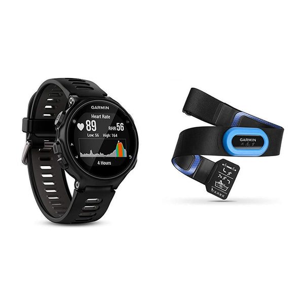 Garmin Forerunner 735XT GPS Multisport and Running Watch, Black/Grey &  HRM-Tri Heart Rate Monitor Strap, Black (Black/Blue)
