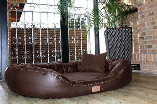 Tierlando® Ultimate Lennart Orthopedic Dog Bed with Visco plus Mattress in Faux Leather and Velour! Soft Lounge! XXXL 170 cm Brown
