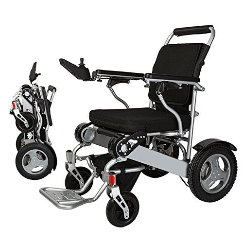 "Bangeran Electric Wheelchair Folding Lightweight 50 lbs with Batteries Heavy Duty Supports 360 lbs Aircraft Grade Aluminum Alloy Frame More Strength,12"" Rigid Rubber Tyre Wheel More Stable"