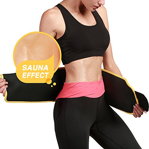 Roseate Waist Trimmer Belt for Men and Women Weight Loss Workout Sweat Wrap Tummy Fat Burner Abdominal Trainer M