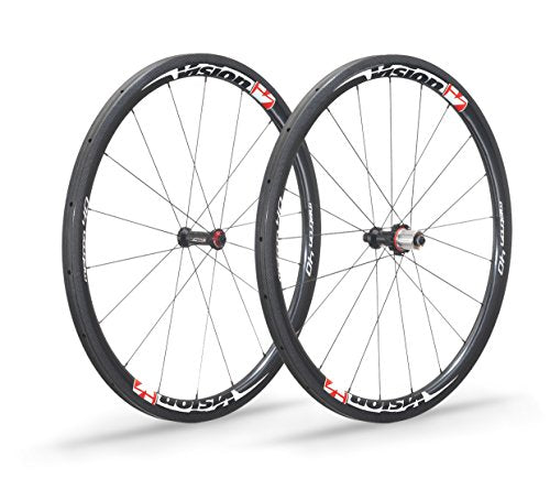 Vision Unisex's 710-0135 Metron 40 Road Wheelset, Carbon/Red Decal, One Size