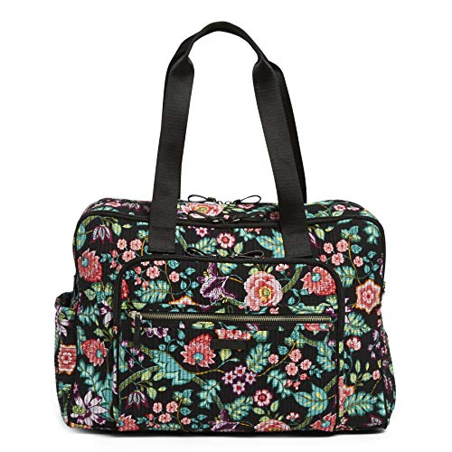 Vera Bradley Iconic Deluxe Weekender Travel Bag, Signature Cotton, Vines Floral