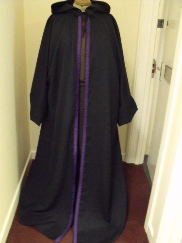 "55"" Length Adult Size - STUNNING WOOL SUIT ROBE/DRESS IN NAVY AND PURPLE CELTIC KNOT EDGING"