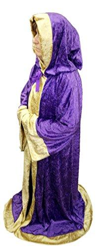 "55"" Length Purple Crushed Velvet Medieval Robe With Gold Edging Adult Size - WIZARD/MAGICIAN/SORCERER/LARP"