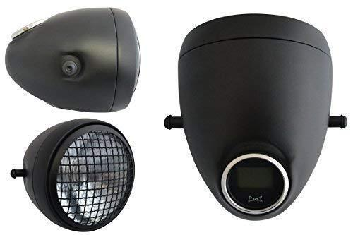 5.75 inch Matt Black Motorbike Headlight with Mesh Grill & Integrated Digital GPS Speedometer