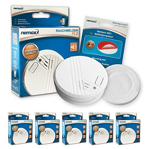5x Nemaxx FL2 quality smoke alarms according to EN 14604 with sensitive photoelectric technology + 5x Nemaxx NX1 self adhesive fixing pad