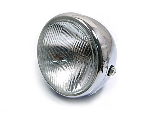 "6 3/4"" 6.75"" Motorbike Headlight - Chrome Steel - 12V 55W Bulb for Retro Project Cafe Racer, Street Bike, Scrambler"
