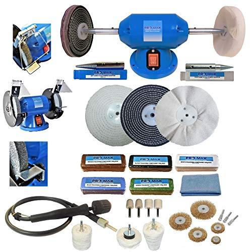 "6"" Bench Grinder 200W Bench Polisher with 6"" Deluxe Metal Polishing Kit Machine"