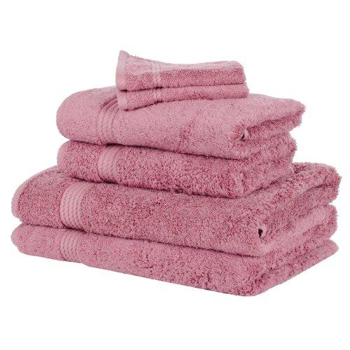 6 Piece Bamboo Bathroom Linen Face Cloth Hand Bath Towel Bale Set - Blush