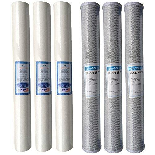 "6 x 20"" Reverse Osmosis Water Filters Sediment Carbon Pole Fed Window Cleaning Set"