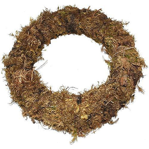 "6 x Pre-Made 12"" Real Moss Ring Christmas Wreaths"