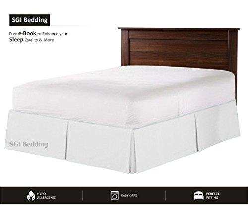 "600 TC Egyptian cotton Bedding 1X Split Corner Bed Skirt 16"" Inch (40cm) Drop Double size (135X190 Cm) White Solid"