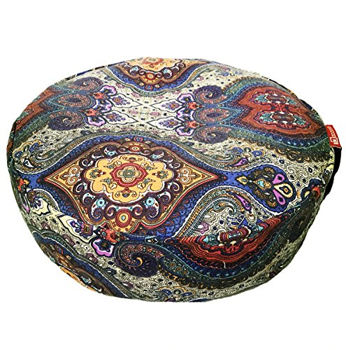 Aozora Zafu Meditation Cushion Yoga Inflatable Cotton Bolster Pillow Cushion Lightweight and Non-Slip with Premium Designs (Newcelestial)