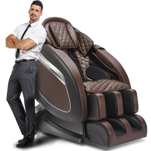 Luxury Electric Intelligent Massage Chair Horizontal Leather Automatic Zero Gravity Leisure Chair Multi-Function Body Capsule Massager,Brown