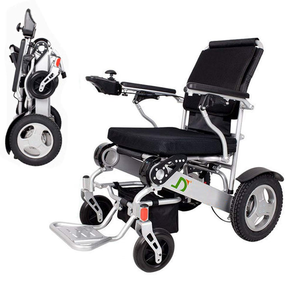 Lightweight Folding Electric Wheelchair, Deluxe Fold Foldable Power Compact Mobility Aid Wheel Chair, Dual Battery, Longest Driving Range Power Wheelchair