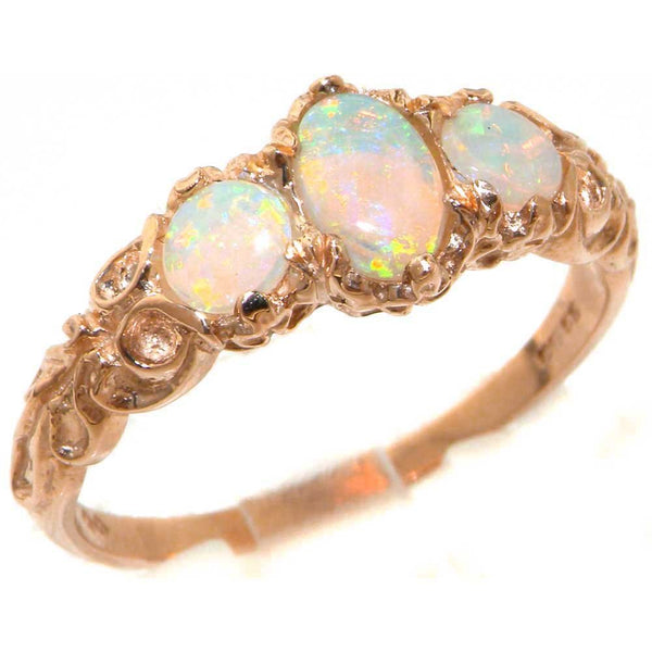 Ladies Solid 14ct Rose Gold Natural Fiery Opal English Victorian Style Trilogy Ring - Size Z