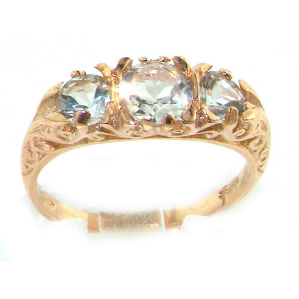 Luxury 9ct Rose Gold Ladies Aquamarine Trilogy Ring - Size R