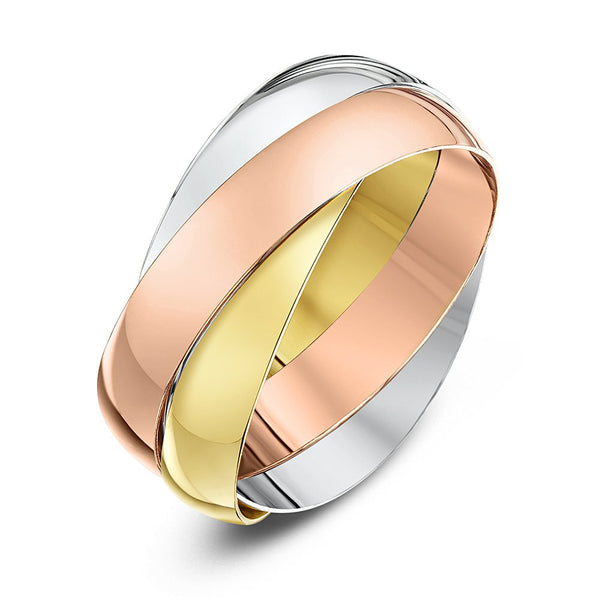 Theia Unisex Highly Polished 9 ct Rose, White and Yellow Gold 4 mm Russian Wedding Ring - Size S