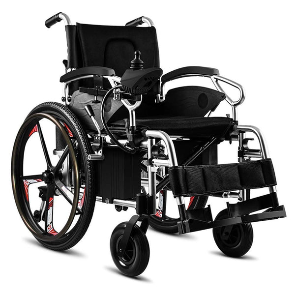 RDJM Lightweight Dual Function Foldable Power Wheelchair (Li-Ion Battery), Drive With Electric Power Or Use As Manual Wheelchair (46Cm)