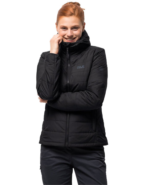 Jack Wolfskin Maryland Women's Quilted Jacket Windproof Waterproof Breathable Jacket Padded, Womens, 1204461-6000005, Black, XL