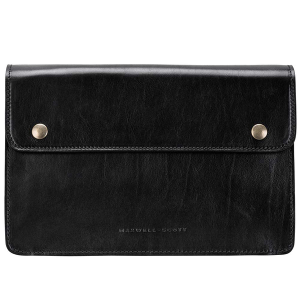 Maxwell Scott Men's High Quality Leather Clutch Bag - SantinoS Black