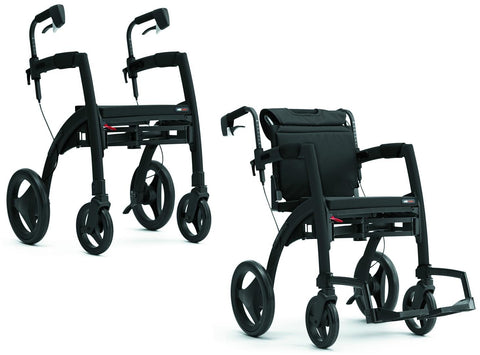 Rollz Motion2 - All In One Rollator & Wheelchair - Matte Black