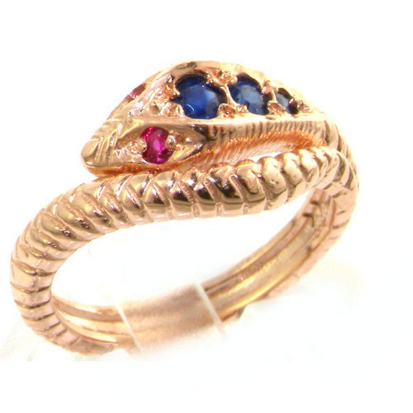 Fabulous Solid 9ct Rose Gold Natural Sapphire & Ruby Detailed Snake Ring - Size M