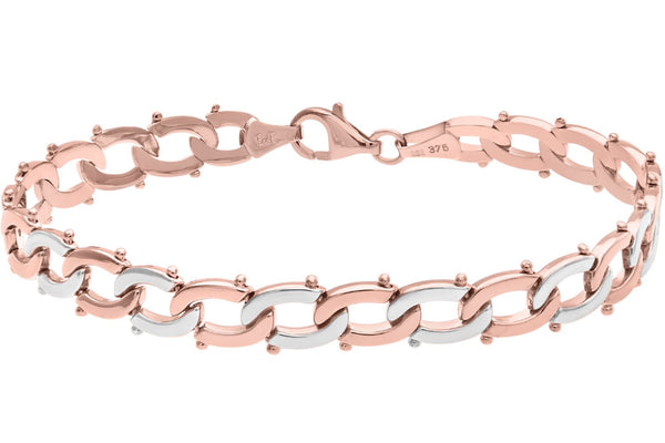 Citerna 9 ct Rose and White Gold Alternate Interlinked Split Oval Bracelet of Length 19 cm