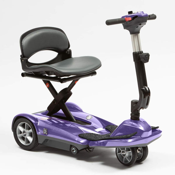 Dual Wheel Auto Fold Mobility Scooter - Adjustable Height Tiller - Remote Control Folding Travel Scooter with On Board Charging (Purple)