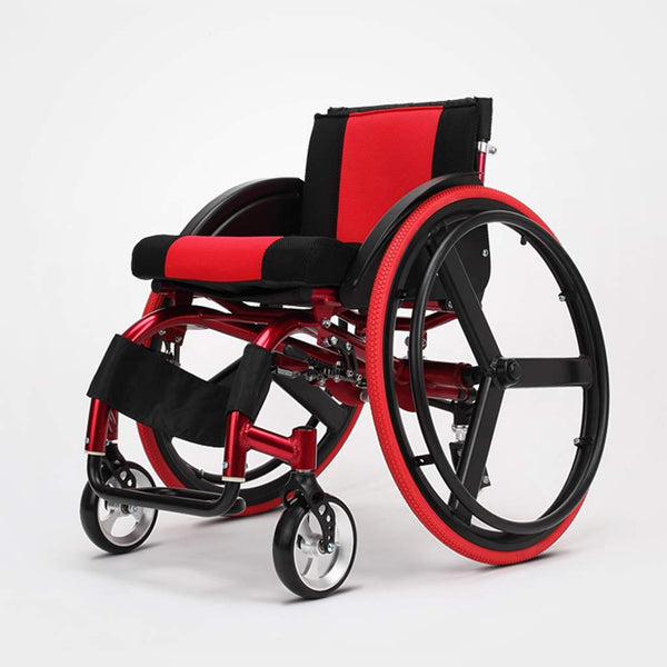 Sports And Leisure Wheelchairs, Portable Wheelchairs Band Double Shock Absorbers, Transport Chair Outdoor Sports, Suitable For Those Who Love Sports And Cannot Stand Up,Red