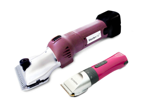 Masterclip Heavy Duty Cordless HD Roamer Horse Clipper with 2 Batteries and Pink Showmate Trimmer Combo