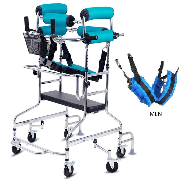OUUCL-OT Walking Mobility Aid, Standing Walking Frame 6 wheels, Adjustable Height Lower Limb Trainer, for Disabled/Elderly, Prevent back roll support, Supports 200 Lbs