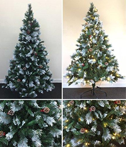 low priced 74553 ea865 6ft Green Artificial Christmas Xmas Tree Frosted Warm White LED Lights Pre  Lit Decoration Sturdy Metal Stand 180cm Wilsons Direct