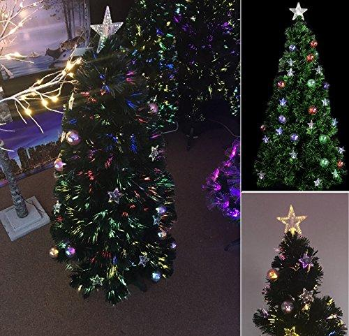 Fibre Optic Christmas Tree With Baubles.6ft Luxury Pre Lit Green Fibre Optic Christmas Xmas Tree Prelit Stars And Baubles Decorations Xmas Stand 180cm Wilsons Direct