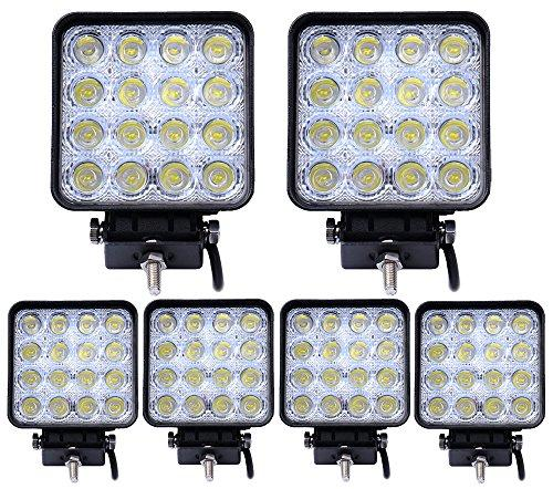 6pcs 48W Square LED Work Light,ALPHA DIMA Flood Beam Off Road Driving Light Fog Lights Waterproof for Truck Car Boat Motorcycle ATV 4WD 12V 24V