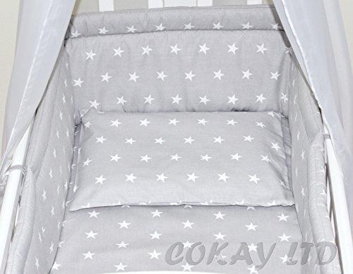 6pcs BABY SWINGING/ ROCKING CRIB /CRADLE BEDDING SET/ALL ROUND BUMPER 100% COTTON! (Grey Stars)