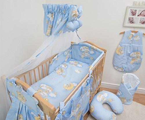 7 Pcs Baby Bedding Set with Cot Canopy, Padded Thick Bumper 190cm, 140x70cm - Pattern 4