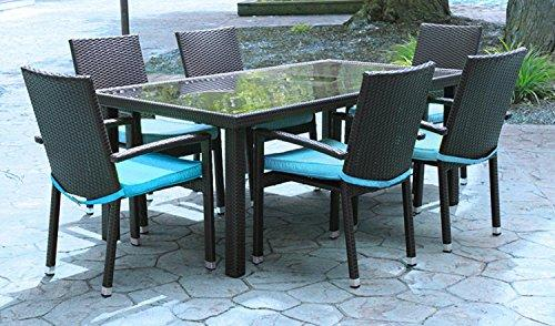 7-Piece Black Resin Wicker Outdoor Furniture Patio Dining Set - Blue Cushions