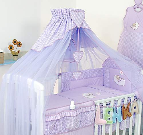 7 Piece Embroidered Duvet, Baby Bedding Set for COT 120X60 OR COT Bed 140X70cm inc Luxury Canopy with Free Hearts (Violet, to Fit COT Bed 140 x 70cm)