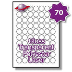 70 Per Page/Sheet 100 Sheets (7000 TRANSPARENT ROUND Sticky Labels) Label Planet® CLEAR POLYESTER Circular Self-Adhesive Blank A4 Gloss WATERPROOF Printable Price Pricing Stickers, For Laser Printer, 25 MM Diameter UK LP70/25R GTP, Multi-Purpose