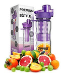 700mL Fruit Infuser Water Bottle - Leak Free Locking Cap - BPA Free Tritan Plastic - Sport Spout for Easy Drinking - Carrying Loop and Finger Grips for Easy Transport (Purple)